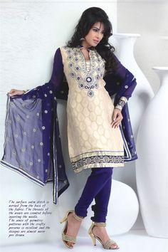 Glamour cream & purple georgette suit (Unstiched suit)
