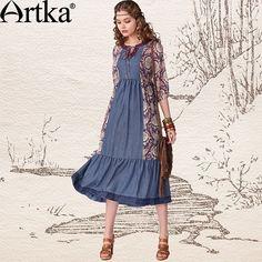 3f62fe6dba5 Artka Women S Summer Fashion Novelty O-Neck Three Quarter Sleeve High Loose  Waist Patchwork Print Cotton Dress LN11440X via Artka.