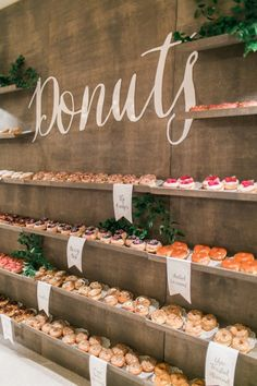 A serious donut bar: http://www.stylemepretty.com/2015/07/08/rustic-chic-fall-wedding-at-montage-laguna-beach/ | Photography: Troy Grover - http://blog.troygrover.com/