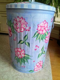 Hand Painted Galvanized  Metal   20 Gallon  by krystasinthepointe, $99.00