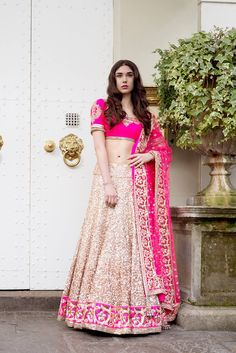 Neon Pink. Gold. Ivory. #indianoutfit #lengha