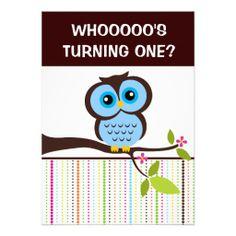 1st Birthday Owl Theme Party Invitations