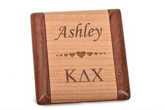 KAPPA DELTA CHI Personalized Wood Engraved Pocket Mirror, grk0001n by…  Custom rosewood and maple wood purse mirror with the Greek letters of your sorority and personalized with the name of your choice!