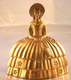 Vintage Brass Lady Figurine Bell Made In by WildAboutVintage