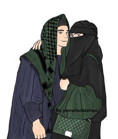 kumpulan kartun romantis parf 3 - my ely Couple Pic Hd, Cute Couple Art, Muslim Men, Muslim Girls, Cute Muslim Couples, Cute Couples, How To Wear Pashmina, Love Cartoon Couple, Islam Marriage