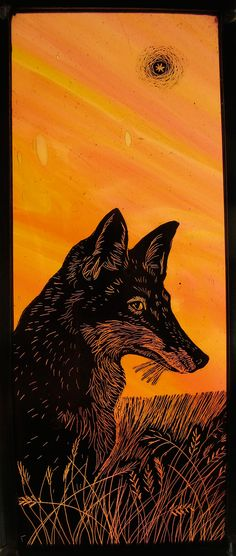 Tamsin Abbott, Fox – Evening Star, February stained glass [r] Stained Glass Paint, Stained Glass Patterns, Stained Glass Windows, Mosaic Glass, Glass Art, Fox Illustration, Grisaille, Fox Art, Sgraffito