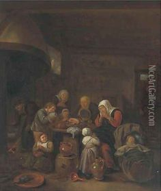 A kitchen interior with a peasant family praying before a meal Richard Brakenburgh 17th cent.