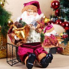Alta qualidade 35 cm de natal sentado papai noel boneca de brinquedo estatueta ornamento decoração quarto decoração(China (Mainland))