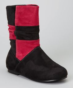 Take a look at this Black & Fuchsia Color Block Yster Boot on zulily today!