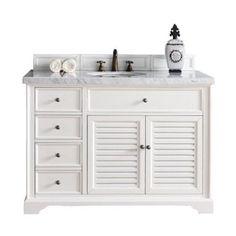 James Martin Savannah 48 Single Bathroom Vanity in White-2cm Absolute Black Rustic