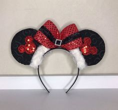 Christmas Mrs. Clause Minnie Ears Headband, Minnie Ears, Embellished Minnie Ears, Christmas Ears