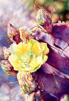 Opuntia Boyce-Thompsonii by Laurie Asahara Watercolor ~ 22 x 15
