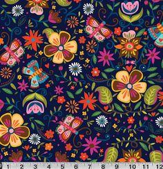 Main Floral Illustration on Navy from Soul by sewfreshfabrics, $2.75