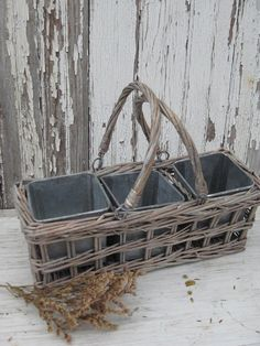 *vintage gray woven wicker basket *three square galvanized pots *{perfect} for herbs OR organizing desk top staples *meaures 11 x 4 x 4 ~ Basket Tray, Paper Basket, Willow Weaving, Basket Weaving, Making Baskets, Basket Crafts, Garden Deco, Wire Baskets, Rustic Elegance