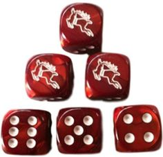 Custom & Unique {Standard Medium Size 16mm} 6 Ct Single Unit of 6 Sided [D6] Square Cube Shape Xmas Playing & Gambling Game Dice w/ Rounded Corner Edges w/ Flying Reindeer Design [Maroon, Red & White]