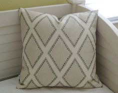 Sarah Richardson for Kravet Brookhaven in Oyster Gray Linen Designer Pillow Cover - Square, Lumbar, Euro and Body Pillow Cover