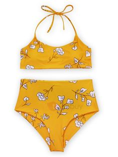 Women Swimsuits Two Piece Tankini Set Push-Up Padded Beach Swimwear Bathing Suit (XL, Yellow) - Womens Fashion Boho Swim Suits, Bathing Suits, 2 Piece Swimsuits, Women Swimsuits, Floral Bikini Set, Bikini Swimwear, Halter Bikini, Halter Neck, Beachwear For Women