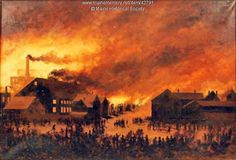 Painting of Great Fire, Portland, 1866, by George Frederick Morse. Item # 42791 on Maine Memory Network