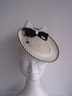 Natural straw  hat fascinator vintage style  nautical style 1930' 1940' 1950'