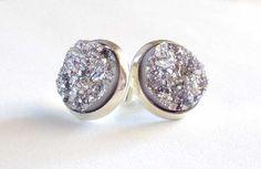 Silver Druzy Earrings Druzy Jewelry by HybridMomentsDesigns