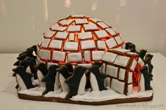 GINGERBREAD HOUSE~ Igloo with penguins gingerbread house