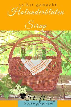 Holunderblütensirup schnell und einfach selbst gemacht. Hier ist mein Rezept mit Gelinggarantie. Wicker Baskets, Picnic, Blog, Outdoor, Jam Jam, Ornamental Plants, Great Gifts, German, Round Round