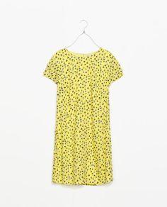 Yellow printed dress - Zara TRF