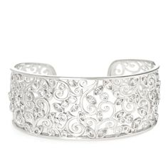 DSQ by Charlie Lapson 5.55ct tw Trellis Cuff Bangle 17.5cm Sterling Silver