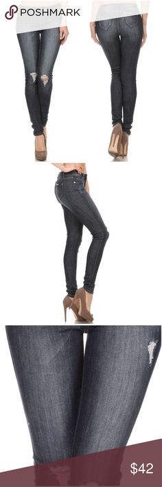 Ripped Knee Dark Jeans Butt lift, mid rise, skinny, basic, dark denim jeans with light wash and destruction on the knee, front and back pockets with gold rivets, belt loops, zipper and button closure.   Fabric : 98% Cotton / 2% Spandex Jeans Skinny