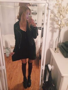 brandy melville dress, necklace, and leather jacket, urban socks, topshop arabels