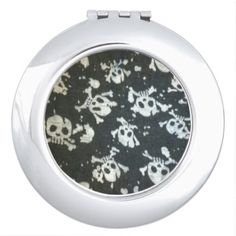 Black+and+White+Skull+Print+Compact+Mirror