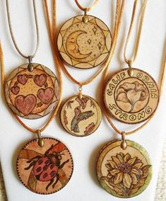 """Display of 2"""" wood pendants with 1-1/2"""" in the center. See Pendant Gallery's."""