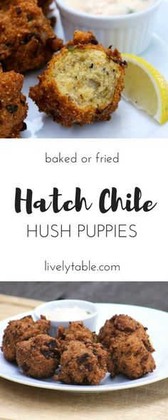 Hatch Chile Hush Puppies are delicious classic cornmeal hushpuppies with a spicy hatch chile kick and can be baked or fried. Hatch Recipe, Hatch Green Chili Recipe, Green Chili Recipes, Hatch Chili, Mexican Food Recipes, Hush Puppies Rezept, Hatch Peppers, Chile, Appetizer Recipes