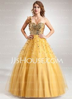 Prom Dresses - $176.99 - Ball-Gown One-Shoulder Floor-Length Tulle Sequined Prom Dress With Beading (018022508) http://jjshouse.com/Ball-Gown-One-Shoulder-Floor-Length-Tulle-Sequined-Prom-Dress-With-Beading-018022508-g22508