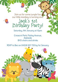 Zoo themed Birthday Invitation Lovely Zoo theme Birthday Invite Card with Animated Animal Jungle Theme Birthday, Baby Boy Birthday, Jungle Party, Safari Party, Baby Party, First Birthday Parties, Baby Shower Parties, Safari Theme, Festa Safari Baby