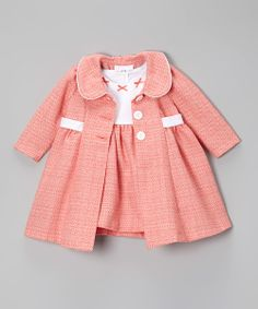 Peach & White Bow Bouclé Dress & Swing Coat
