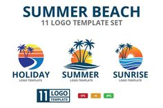SUMMER BEACH theme logo set by great19 on @creativemarket