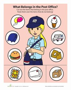 This fun preschool post office game will improve your child& sorting and categorizing skills, and it may also provide a few hoots and hollers. Preschool Projects, Preschool Lesson Plans, Preschool Themes, Classroom Activities, Learning Activities, Preschool Math, Community Helpers Kindergarten, School Community, Post Office Game