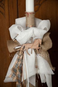 Christening candle for boy with wooden horse … – Easter Burlap Candles, Baptism Candle, Wooden Horse, Easter Outfit, Handmade Candles, Christening, Diy And Crafts, Reusable Tote Bags, Horses