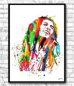 Bob Marley aquarelle imprimer, Tenture murale, mur de giclée print, décoration, décoration murale, poster de Bob Marley, oeuvre murale moderne, musique