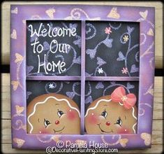 Welcome Home Ginger Plaque Pattern Gingerbread Crafts, Gingerbread Decorations, Christmas Table Decorations, Christmas Gingerbread, Gingerbread Men, Diy Christmas Garland, Christmas Crafts, Christmas Canvas, Country Paintings