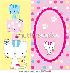 cute cats invitation card vector illustration