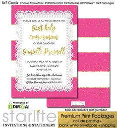 First Communion Invitation Girl Hot Pink Gold Glitter Sparkle  https://starliteprintables.indiemade.com/product/first-communion-invitation-girl-hot-pink-gold-glitter-sparkle