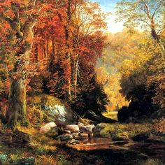 "Thomas Moran (1837-1926) originally from Bolton, England, was an American painter and printmaker of the Hudson River School in New York whose work often featured the Rocky Mountains. Moran and his family took residence in New York where he obtained work as an artist. (Wikipedia) (""Cresheim Glen"" by Thomas Moran)"