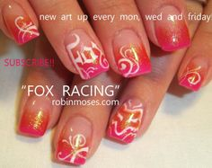 Nail-art by Robin Moses: fox nails, pink nails, gradient nail, nicki minaj . Aqua Nails, Hot Pink Nails, Gradient Nails, Acrylic Nails, Fox Racing Nails, Fox Nails, Nail Polish Designs, Nail Art Designs, Nails Design