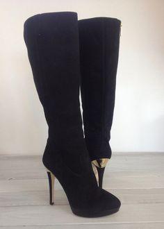 Michael Kors York Boots 8M Tall Suede Leather Black Gold Zipper Emblem Stiletto  #MichaelKors #KneeHighBoots