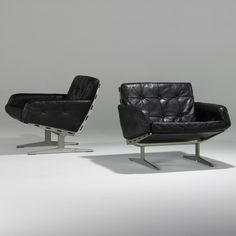Paul Leidersdorff; Leather and Aluminum Lounge Chairs, 1960s.