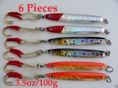 Knife Jigs 6 Pieces 3.5oz /100g Vertical Butterfly Lures 3 Colors With Lure Bag