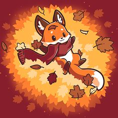 Autumn Fox t-shirt TeeTurtle red t-shirt featuring a fox with a scarf on in a pile of leaves Cute Fox Drawing, Cute Cartoon Drawings, Cute Animal Drawings, Kawaii Drawings, Cartoon Fox Drawing, Anime Animals, Cute Animals, Art Fox, Fuchs Illustration