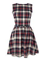 Checked skater dress with belt
